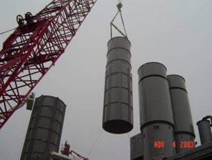 Erecting 2nd stack section